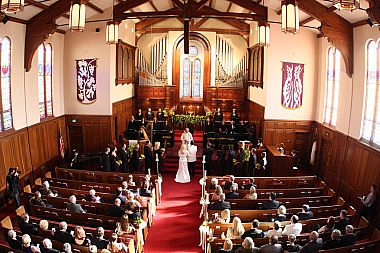 view of wedding from balcony